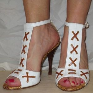 "JUST CAVALLI White ""Laces"" Heel Sandals"
